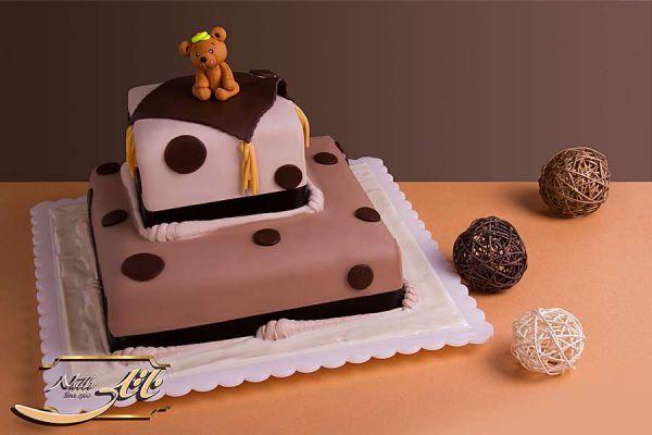 کیک تولد شکلاتی خرسی