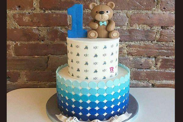 کیک تولد وانیلی خرسی