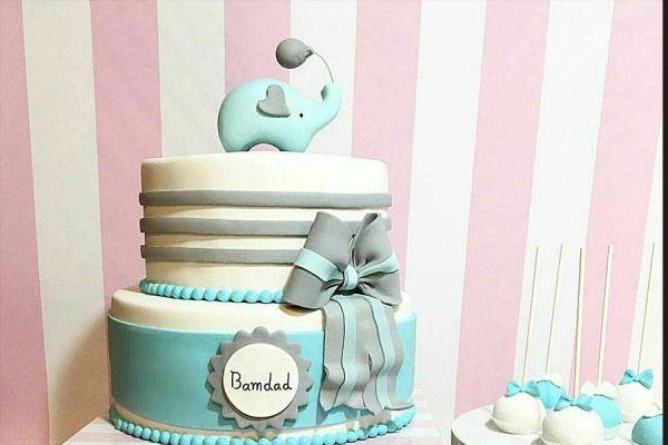 کیک تولد دخترانه فیل آبی