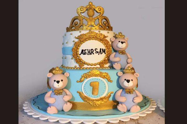 کیک تولد دخترانه خرسی تاجدار