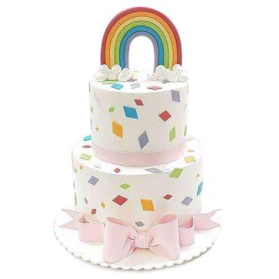 کیک تولد دخترانه رنگین کمان