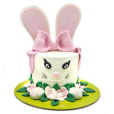 کیک تولد خرگوش پاپیون صورتی