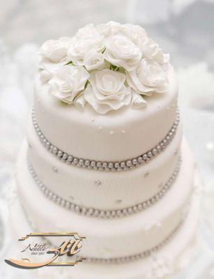 کیک عروسی سپید گل 4