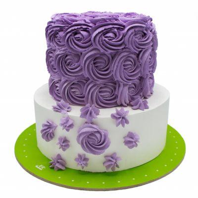 کیک عروسی رز بنفش