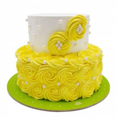 کیک نامزدی رز زرد