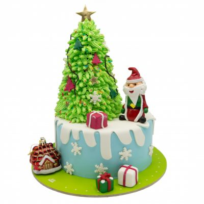 کیک بابانوئل و درخت فوندانت