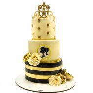 کیک عروسی تاج طلایی