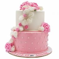 کیک رز سفید و صورتی