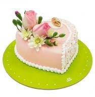 کیک قلب و گل