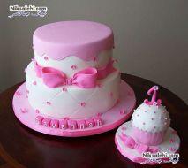 کیک تولد دخترانه پاپیون صورتی