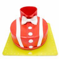 کیک تولد پسرانه پاپیون و پیراهن قرمز
