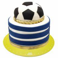 کیک تولد پسرانه توپ فوتبال آبی