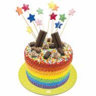 کیک تولد دخترانه رنگین کمان شکلاتی