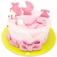 کیک تولد دخترانه نوزاد صورتی
