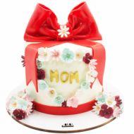 کیک تولد دخترانه پاپیون قرمز