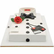 کیک تولد پسرانه پیراهن سفید