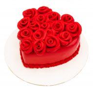 کیک قلب و رز قرمز