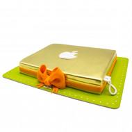کیک لپ تاپ اپل طلایی
