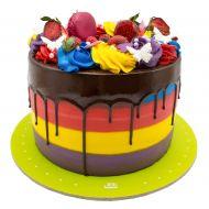 کیک رنگارنگ با سس شکلات