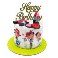کیک روز دختر و لوازم آرایشی