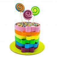 کیک پاپیون های رنگین کمانی