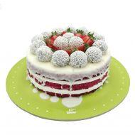 کیک ردولوت و توت فرنگی