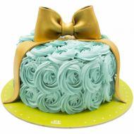 کیک تولد دخترانه خامه ای رز آبی