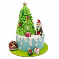 کیک بابانوئل و درخت کریسمس
