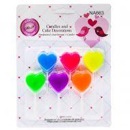 شمع قلب 6تایی رنگارنگ