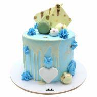 کیک فیگور قلب و ماکارون