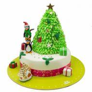 کیک درخت کریسمس و پنگوئن ها